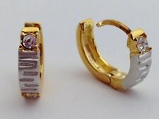 Lauren G Adams Girls Two Tone Huggie Hoop Earrings with CZ Stone New