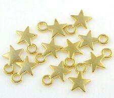 50 Metallanhänger Stern 10mm Gold Halskette Armband Schmuck Anhänger F80