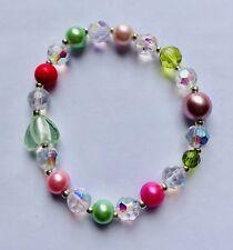 Stunning Pink Peridot Green & White Crystal Pearl Glass Bracelet