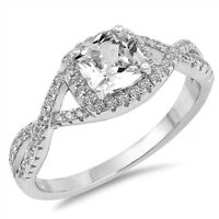 Sterling Silver .925 Princess Cut Halo Heart Promise Infinity Ring Sizes 5-10