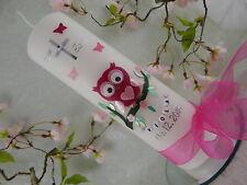 Taufkerze Hibou Rose Pour Filles Avec Nom Et Date 250/70 mm