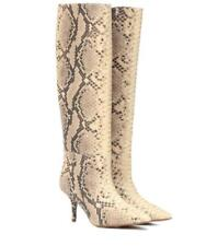 Vogue Women Real Leather Casual Snake Print Knee Boot Pointy Toe High Heel Shoe