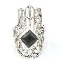 Black Onyx Hamsa Ring, Sterling Silver Black Onyx Ring, Stone Jewelry, Gemstone