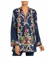 Johnny Was Hadley Floral V-Neck Long-Sleeve  Floral Printed Silk Tunic Top Sz M