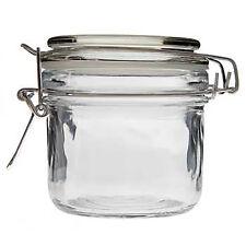 CLEAR GLASS JAR AIRTIGHT Metal Clamp Canister BPA Free REUSABLE CHEFS JAR 8 OZ