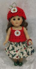 """Made to fit 8"""" GINNY Vogue  #115 Top, Hat, Skirt & Purse,  Handmade doll clothes"""