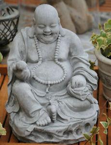Buddha Figur lachender  dicker  Happy Buddha XL Stein Grau Glück Feng Shui