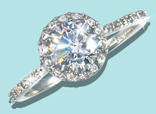 1 ct Halo Ring Russian Quality CZ Simulated Mossanite Imitation SS 1.5 tw. Sz 8