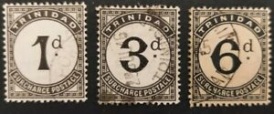 """Trinidad and Tobago 1905-06, 3x """"Postage Due""""stamps used"""