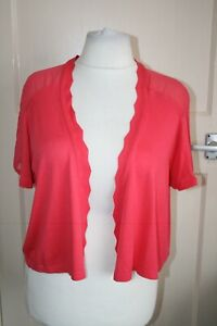 BNWT SIZE 24 PER UNA RED/ ORANGE SHORT SLEEVE CARDIGAN WITH SHEER TOP PANEL