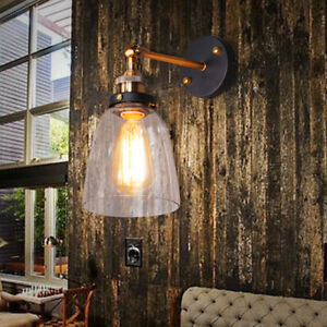 Modern Vintage Industrial Indoor Wall Light Fitting Polished Glass Lounge Lamp