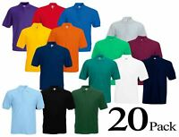 20 Pack Fruit of the Loom Plain Cotton Mens Polo Shirts T-Shirt Short Sleeve