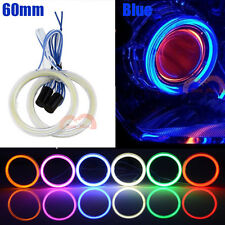 2pcs Car Motorcycle 60mm Blue Headlight Angel Eyes Cob Halo Rings LED Lights DRL