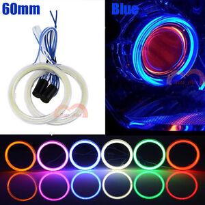 2pcs 60mm Blue Headlight Angel Eyes Car Motorcycle Cob Halo Rings LED Lights DRL