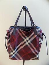 BURBERRY - Buckleigh Shopper Nylon w/Leather Trim Nova Check Tote Handbag