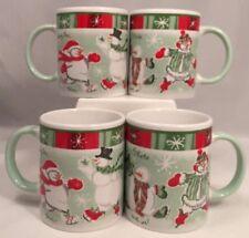 Set Of 4 Avon 2003 China Christmas Cups Mugs Skating Snowmen Green Red