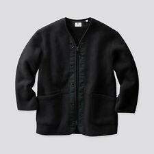 Uniqlo Engineered Garments Collarless Fleece Coat Extra Small Black Jacket | XS