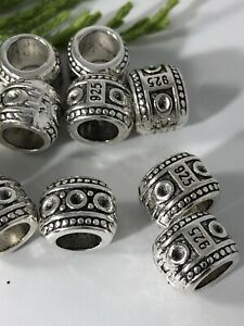 European Large hole Antique silver round Spacers 9x7.5x6mm *10 beads
