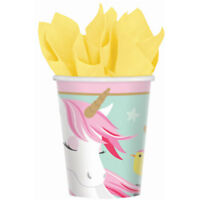 MAGICAL UNICORN PAPER CUPS 266ML PACK OF 8 BIRTHDAY PARTY SUPPLIES