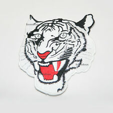 WHITE Tiger Patch Embroidered Patch The Roaring Tiger Face Badge Sew On Patch-5""