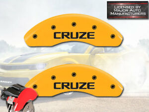 """2016 Chevy """"Cruze"""" Limited Front Yellow MGP Brake Disc Caliper Cover 2pc Set"""