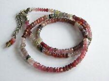 Faceted gemstones beads necklace SILVER 925 sapphires rubies autoumn colours