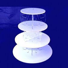 quattro Tier tacco alto e disegno del cuore rotondo base torta - Bianco