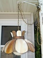 1930s Ornate Copper Trim ROOTBEER Slag Art Glass Electric Hanging Lamp W/ Shade