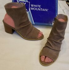 White Mountain Deering Taupe Tan Suede Leather Ankle High Heel Bootie Boot 9 $80