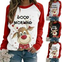 Womens Fall T Shirt Xmas Casual Loose Tee Party Long Sleeve Ladies Blouse Top Ch