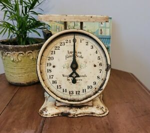 Vintage Antique American Family Scale 25 Pounds White Rustic Primitive WORKS