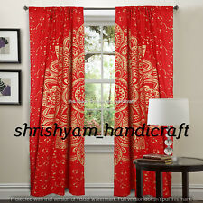 Ombre Mandala Indian Handmade Cotton Curtains 2 Valances Room Divider Panel Boho