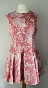 Ted Baker Aleasa Pink Floral Satin Drop Waist Dress Sz 4 UK 14 BNWOT's
