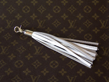 Luxury white leather tassel. Leather purse charm. Genuine leather key chain