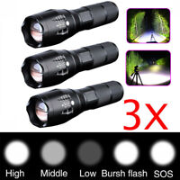 3x Tactical Flashlight 18650 Ultrafire T6 High Powered 5Modes Zoomable Aluminum-