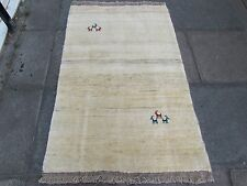 Old Hand Made Traditional Persian Rugs Oriental Cream Wool Gabbeh Rug 151x99cm