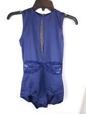 Blue Lace Cutout Leotard Ballet Dance Costume - Women's Am