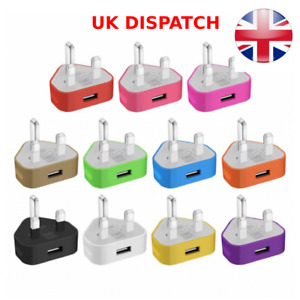 Genuine 1A Universal Single USB Mains Wall Plug Charger Cable Adapter 10 Colours