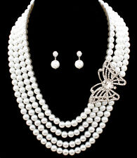Bridal Party 4 Strand Faux White Pearl & Butterfly Rhinestone Necklace Set