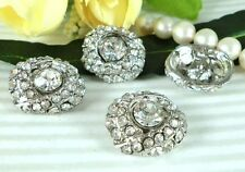 """4 Sparkling 3/4"""" Clear Crystal Rhinestone Silver Sewing Shank Buttons N027"""