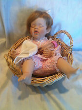 "FayZah Spanos for Danbury Mint Megan Sleeping Baby 11"" Porcelain Bisque Doll"