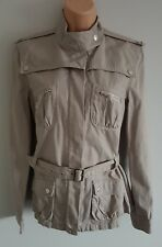 WAREHOUSE Womens beige grey military style short jacket coat stud detail size 12