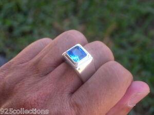 11X9 mm March Aqua Marine Birthstone Men Solitaire Rhodium Ring Size 7-15