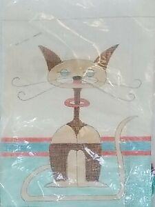 "Hand Painted Needlepoint Pattern Kappie Originals Siamese Cat, NIP 10 1/2"" x 14"""