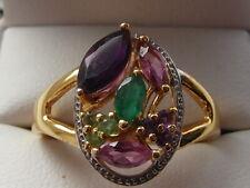 101M Ladies gold on silver multi gemstone dress ring size S