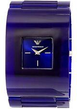 BRAND NEW EMPORIO ARMANI AR7398 DONNA CATWALK BLUE ACRYLIC CUFF WOMEN'S WATCH