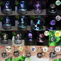 3D Lamp Crystal Pokeball LED Night Light Pokemon Pikachu Key Rings Xmas Gift
