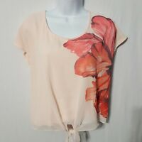 LC Lauren Conrad Tie Front Shirt Pink Floral Short Sleeve Womens Small