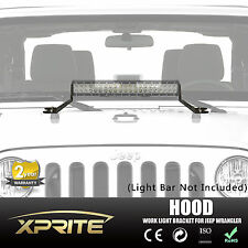 "07-17 Jeep JK Wrangler 20"" LED Light bar Steel Metal Hood Mounting Brackets Kit"