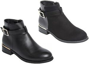 Womens Ankle Boots With Buckle Decoration Chelsea Boots Casual Low Heel Black